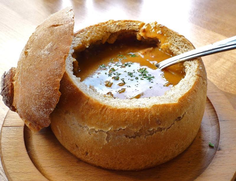 Марийская кухня. Суп в хлебе